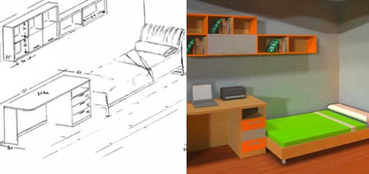 Habitaci n juvenil 3p mobel 3p mobel for Medidas de un escritorio