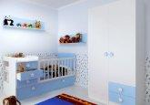 Habitación de bebé convertible y a la medida combinando blanco puro y cielo