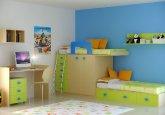Habitación convertible en versión infantil a la medida y personalizada en colores pistacho y roble